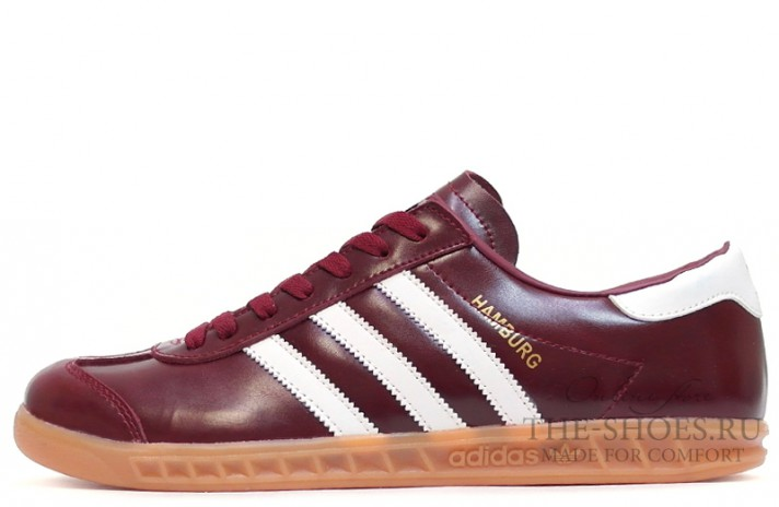 Adidas Hamburg Leather Fan Burgundy White бордовые кожаные, фото 1