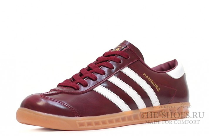 Adidas Hamburg Leather Fan Burgundy White бордовые кожаные, фото 2