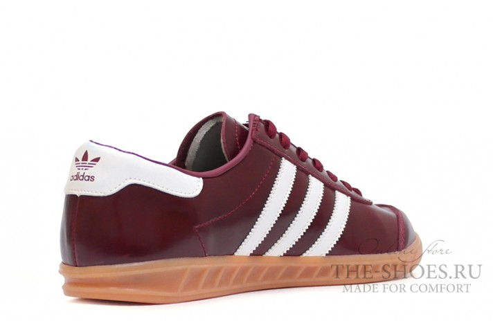 Adidas Hamburg Leather Fan Burgundy White бордовые кожаные, фото 3