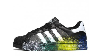 Superstar КРОССОВКИ МУЖСКИЕ<br/> ADIDAS SUPERSTAR SPRAY BLACK WHITE