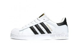 Adidas SuperStar White Black белые кожаные
