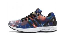 Adidas ZX Flux Firework Black White синие разноцветные