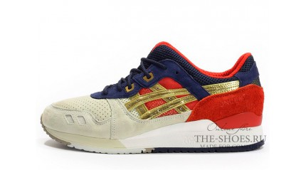 Asics GEL LYTE 3 White Cream Blue Red Gold