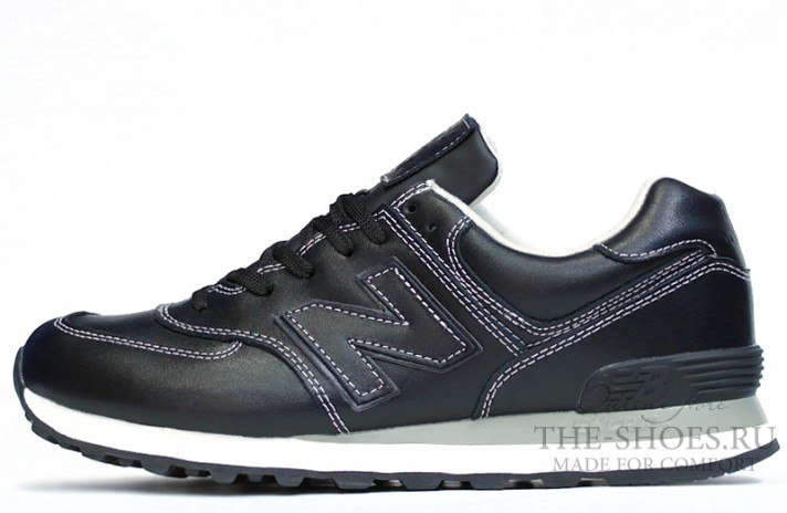 New Balance 574 Black White Leather черные кожаные