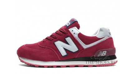 New Balance 574 Cherry White Suede