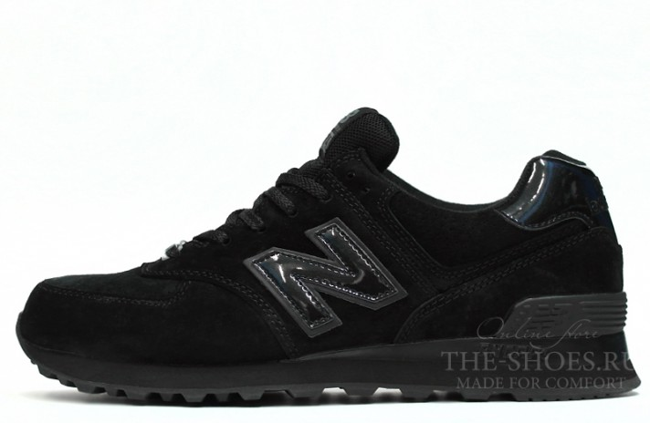 New Balance 574 Classic All Black Suede черные, фото 1