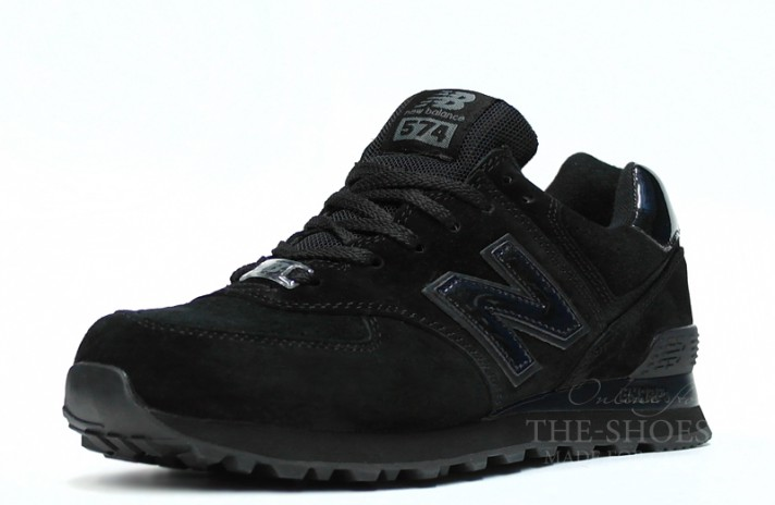 New Balance 574 Classic All Black Suede черные, фото 2