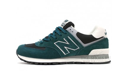 574 КРОССОВКИ МУЖСКИЕ<br/> NEW BALANCE 574 MIXED GREEN BLACK WHITE