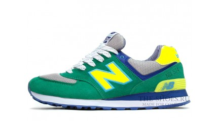 574 КРОССОВКИ МУЖСКИЕ<br/> NEW BALANCE 574 GREEN GRAY YELLOW BLUE
