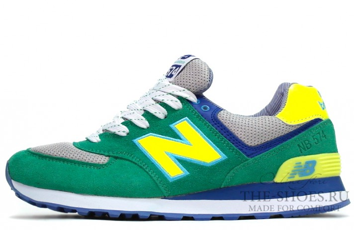 New Balance 574 Green Gray Yellow Blue зеленые