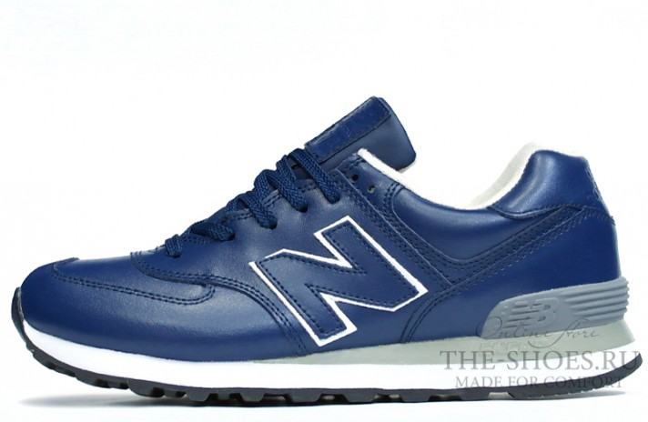 New Balance 574 Blue Leather White Gray синие кожаные
