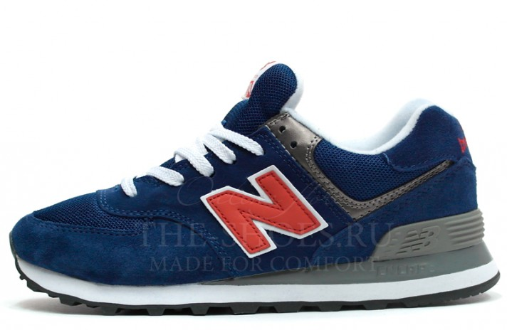 New Balance 574 Dark Blue Netty Red White Gray темно-синие