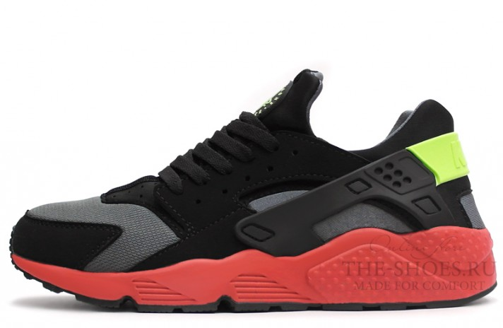 Nike Air Huarache Black Red Grey черные