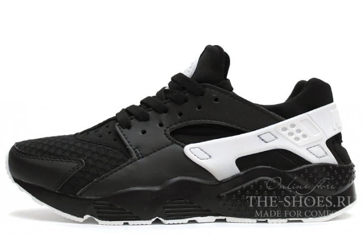 Nike Air Huarache Black White Grid черные кожаные