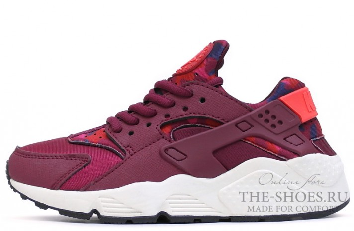 Кроссовки Nike Air Huarache Burgundy Camo White