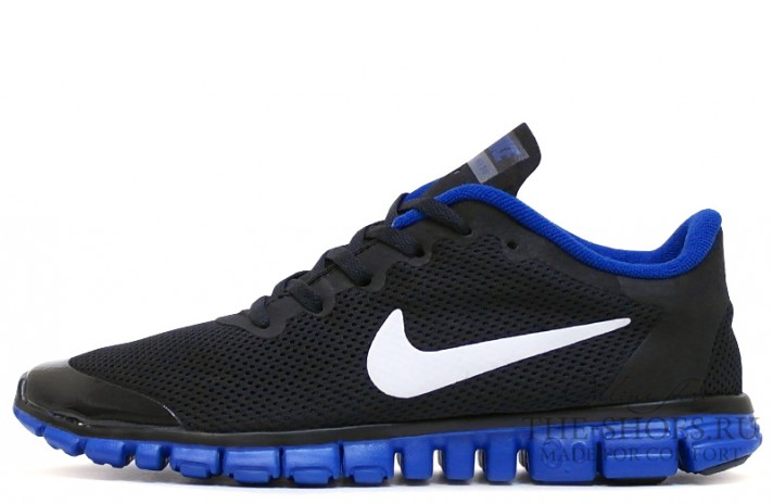 Nike Free Run 3.0 V2 Black Acid Blue черные