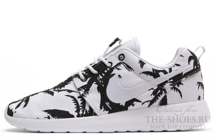 Nike Roshe Run Palm Trees White белые