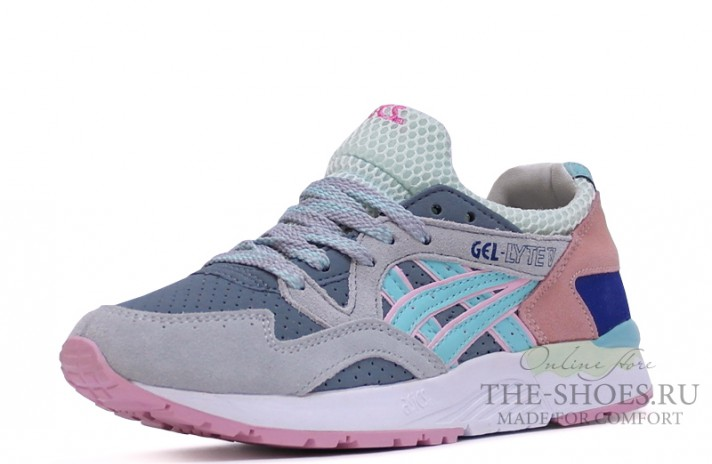 Asics Gel LYTE 5 Grey Coral White Blue серые, фото 2
