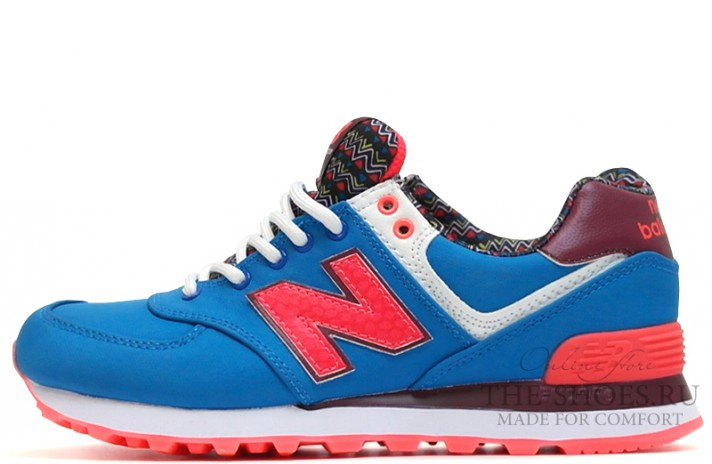 New Balance 574 Blue Island Red Print White синие