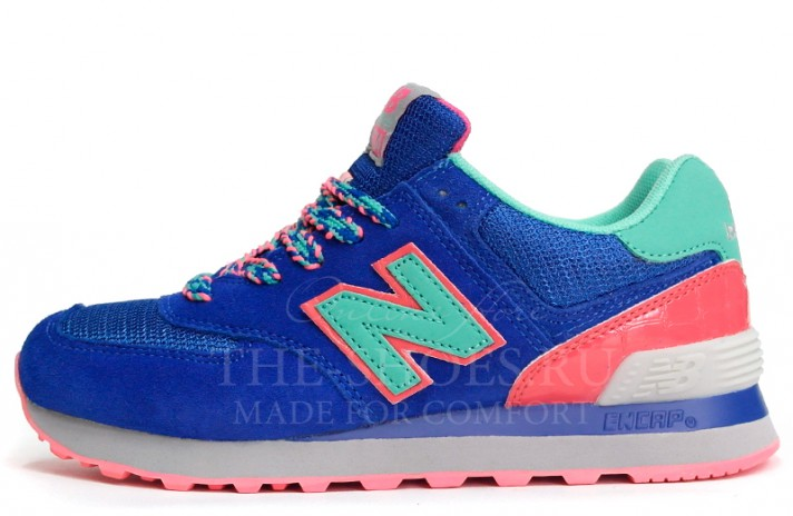 New Balance 574 Blue Mint Pink синие