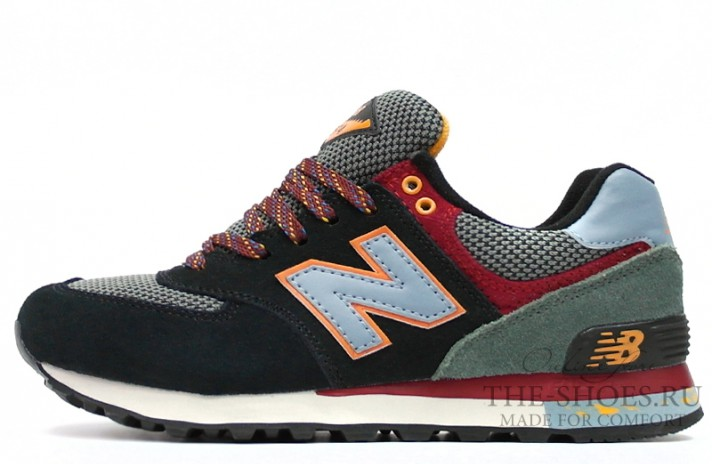 New Balance 574 Burgundy Dual Gray Yellow черные разноцветные