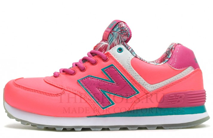 New Balance 574 Print Pink Mint White розовые