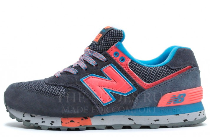 New Balance 574 Dark Grey Blue Pink темно-серые
