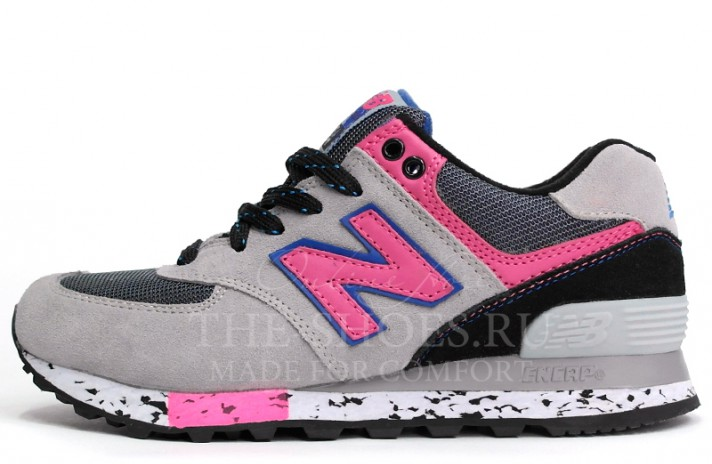 New Balance 574 Grey Black Pink серые