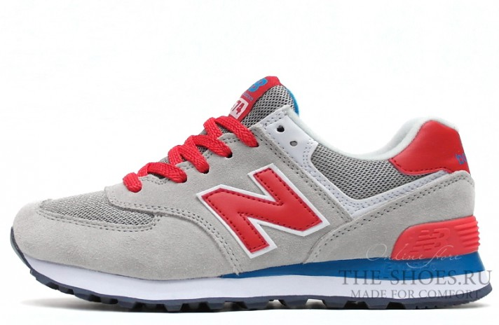 New Balance 574 Grey Red White Blue серые, фото 1
