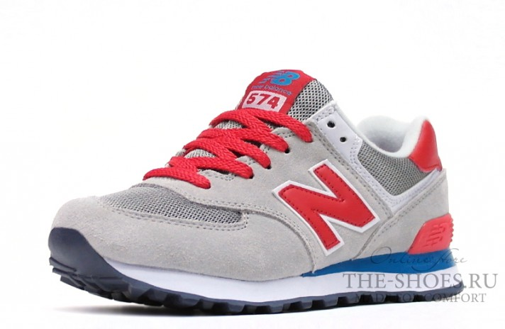 New Balance 574 Grey Red White Blue серые, фото 2