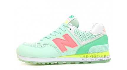 574 КРОССОВКИ ЖЕНСКИЕ<br/> NEW BALANCE 574 MINT WHITE YELLOW PINK
