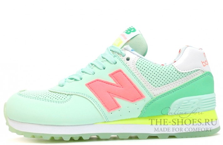 Кроссовки New Balance 574 Mint White Yellow Pink