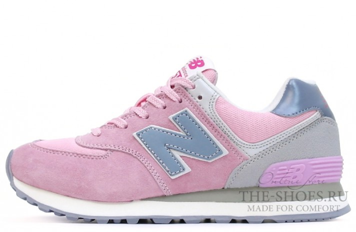New Balance 574 Light Pink Gray Blue White светло-розовые
