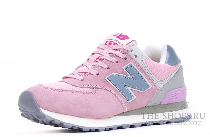 New Balance 574 Light Pink Gray Blue White светло-розовые, фото 4