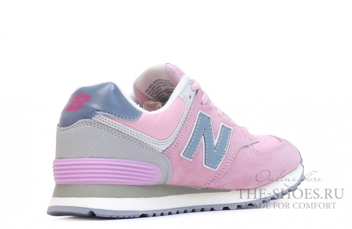New Balance 574 Light Pink Gray Blue White светло-розовые, фото 3