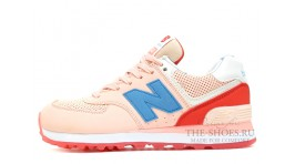 New Balance 574 Baby Pink Blue Coral White светло-розовые
