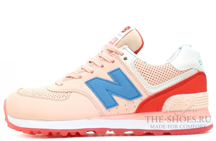 Кроссовки New Balance 574 Baby Pink Blue Coral White