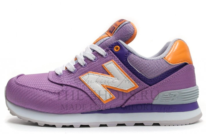 New Balance 574 Lilac Orange Gray White сиреневые