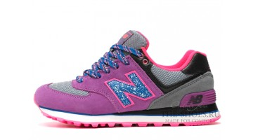 Кроссовки Женские New Balance 574 Lilac Blue Gray Black