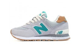 New Balance 574 Wolf Grey Turquoise серые