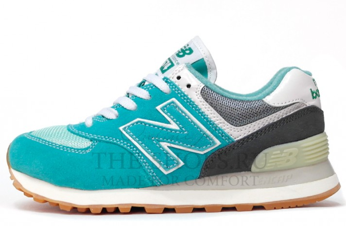 New Balance 574 Turquoise Grey White бирюзовые