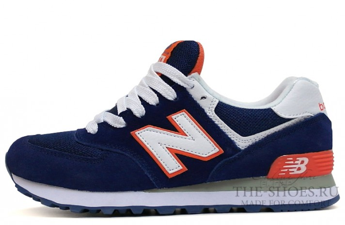 New Balance 574 Dark Blue White Orange темно-синие