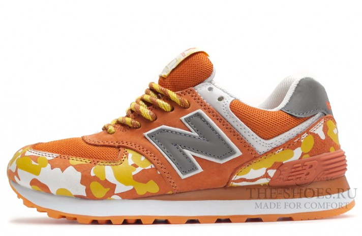 Кроссовки New Balance 574 Orange Camo White Gray