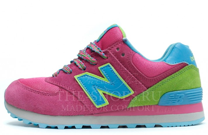 New Balance 574 Pink Green Blue розовые, фото 1