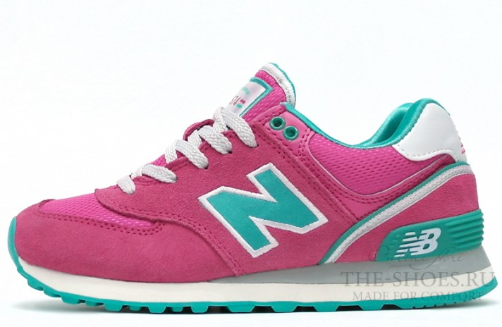 New Balance 574 Pink Turquoise White розовые