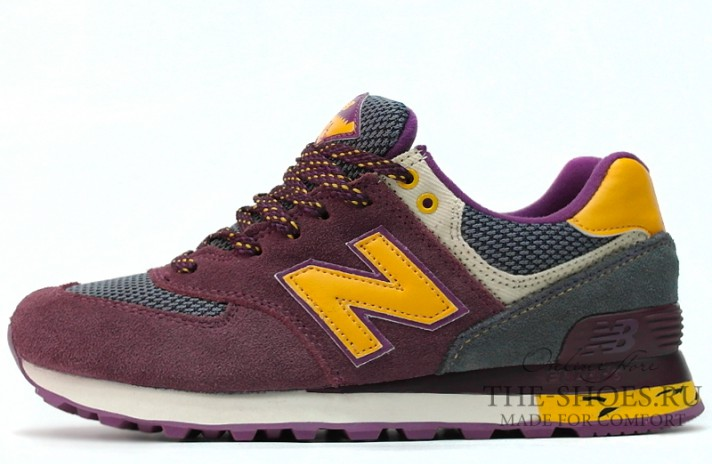 New Balance 574 Burgundy Yellow Beige бордовые