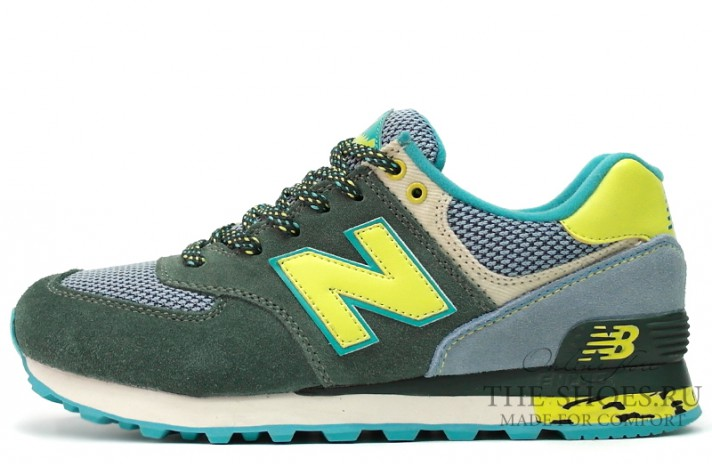 New Balance 574 Premium Green Lime Turquoise зеленые