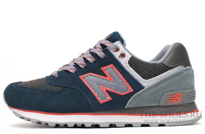 New Balance 574 Premium Dark Blue Grey Pink темно-синие