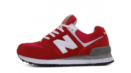 New Balance 574 Red Bright Gray White