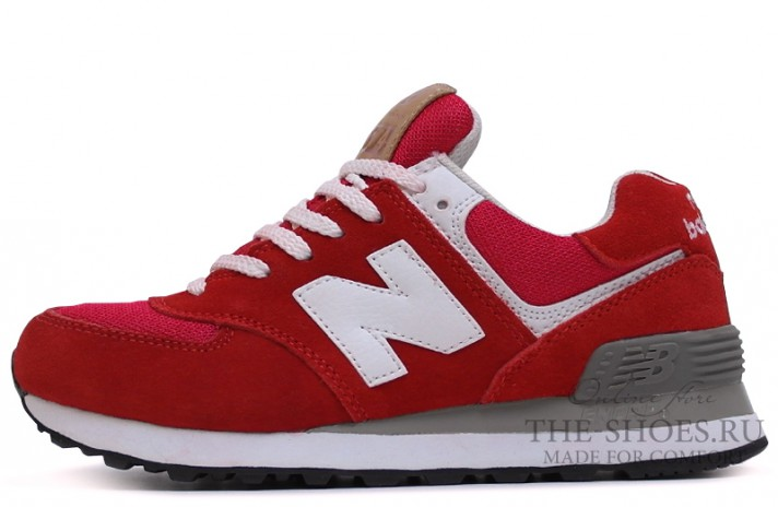 New Balance 574 Red Bright Gray White красные
